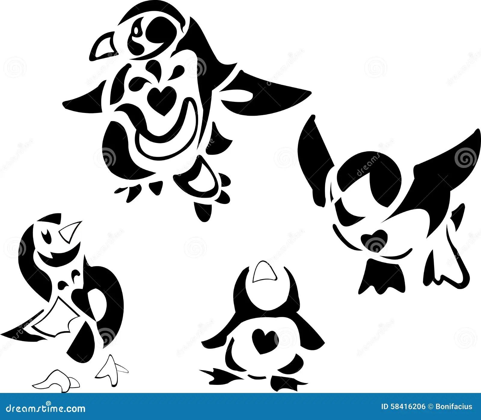 Penguin Family Cartoon Stock Vector Illustration Of