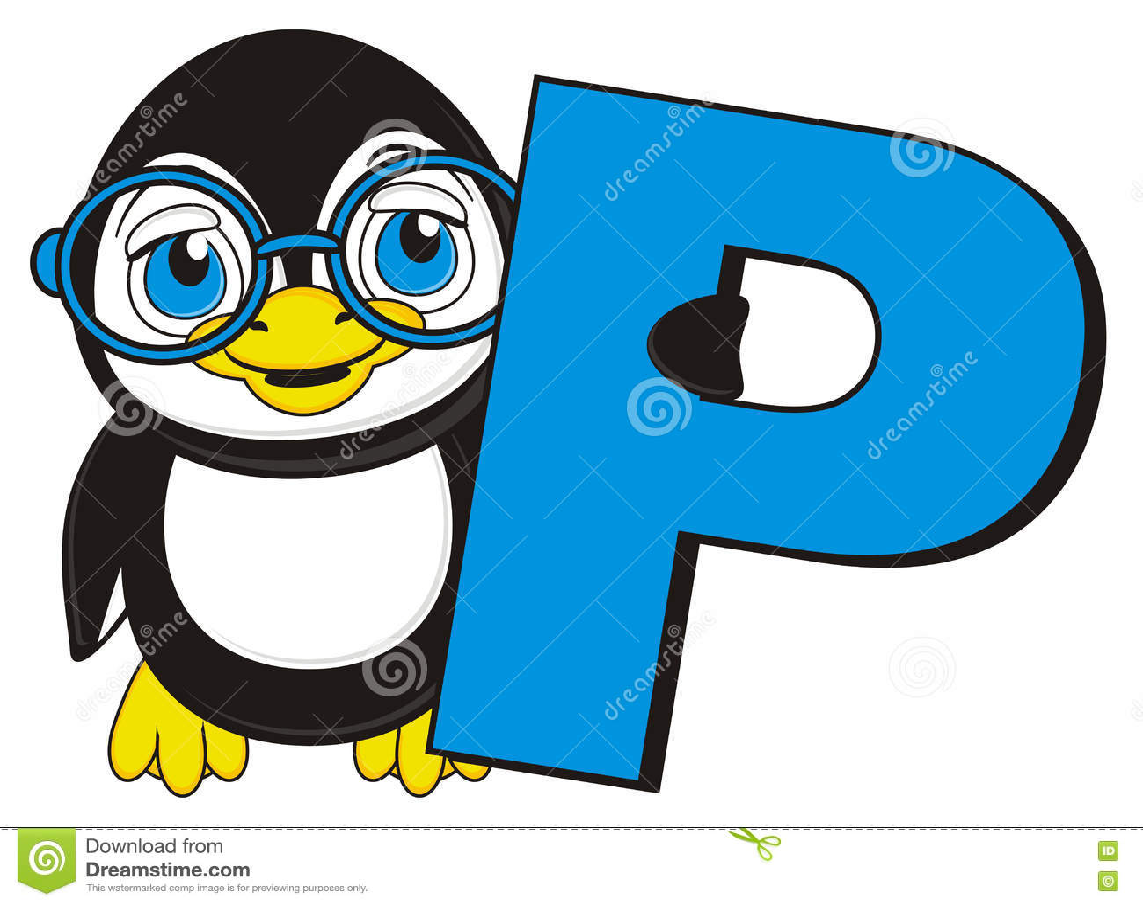 Penguin With Letter P Stock Illustration Illustration Of
