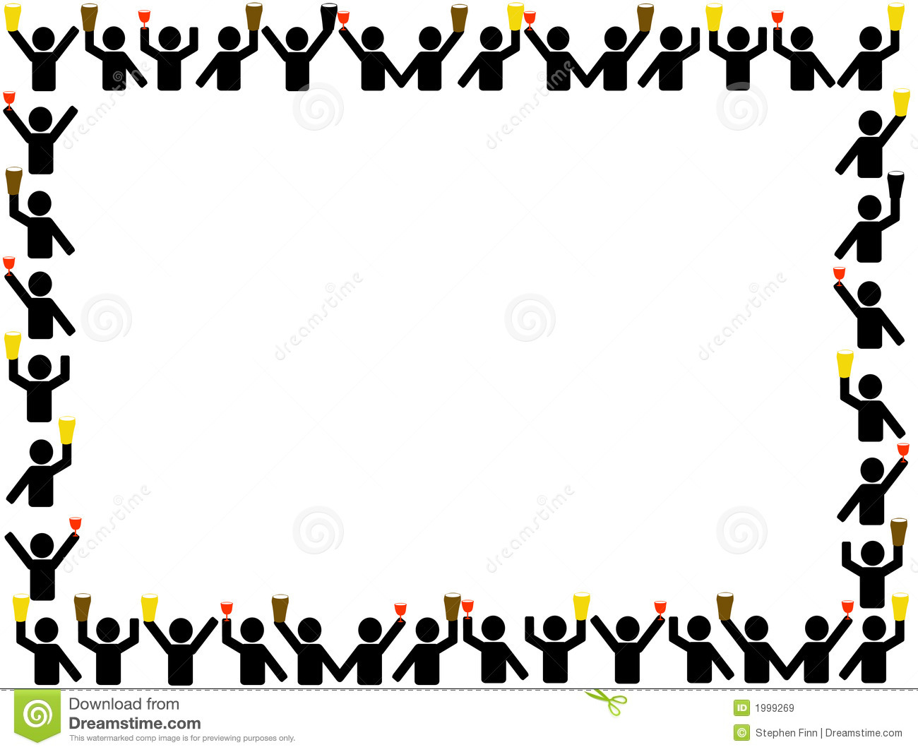 People Celebrating Holding Drinks Border Stock Vector