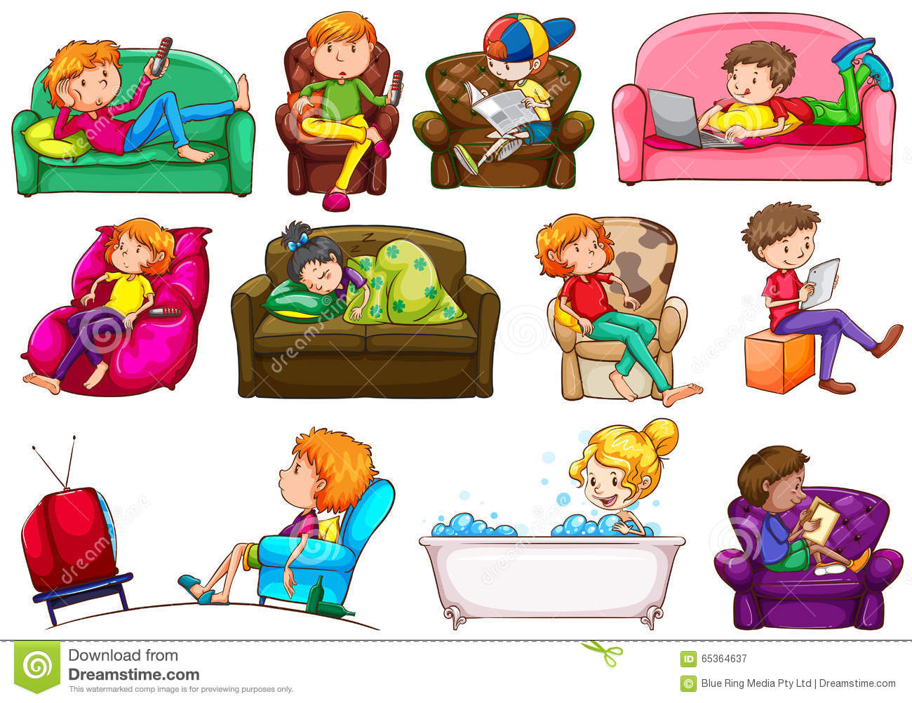 People Doing Different Activities Stock Vector