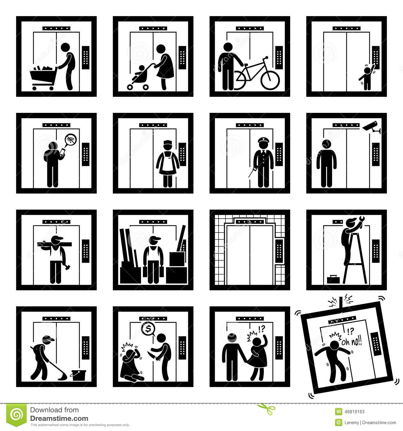 People In Elevator Lift 2nd Version Cliparts Icons Stock Vector