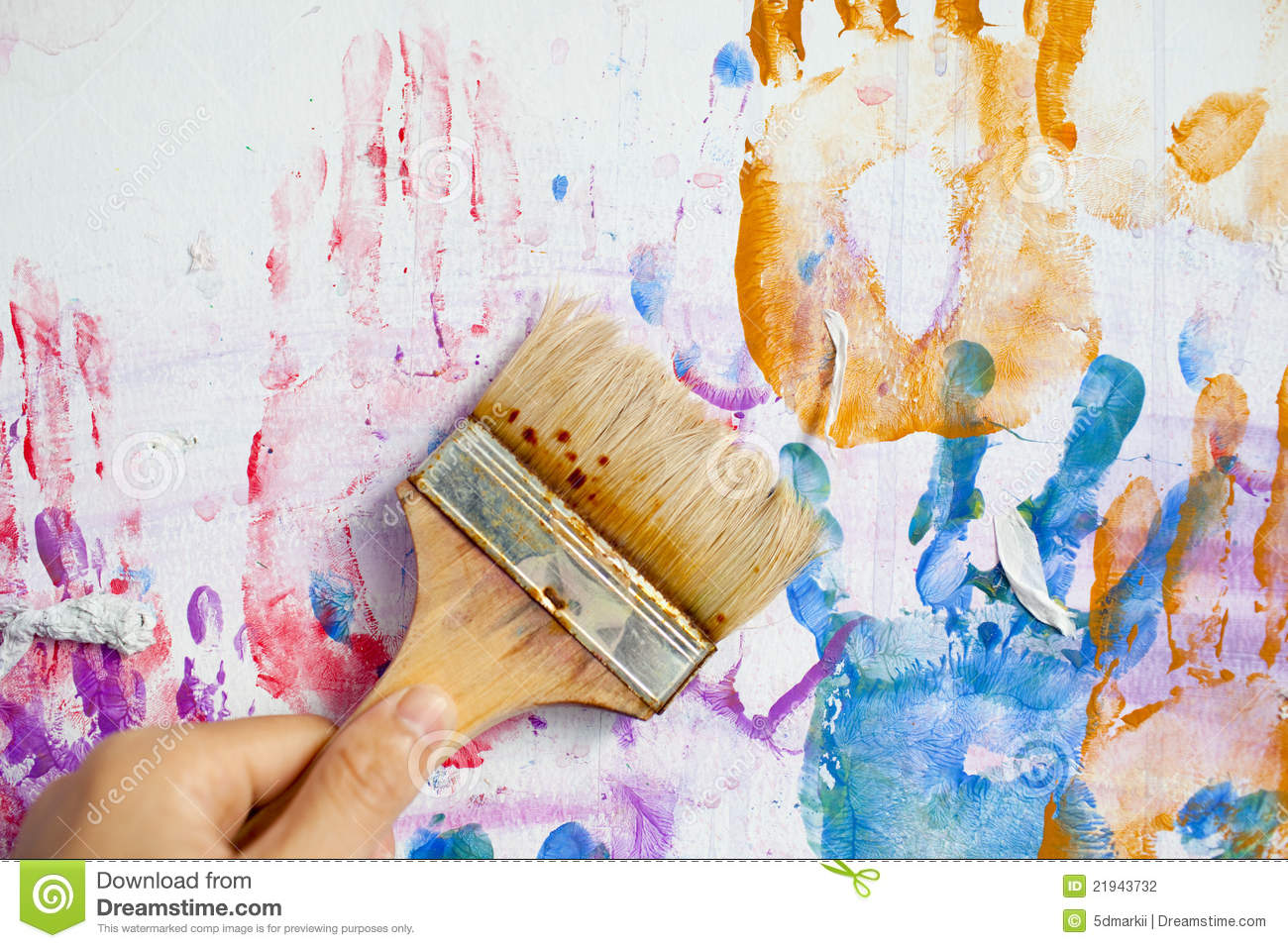 People Hand Painting The Wall Stock Photography Image
