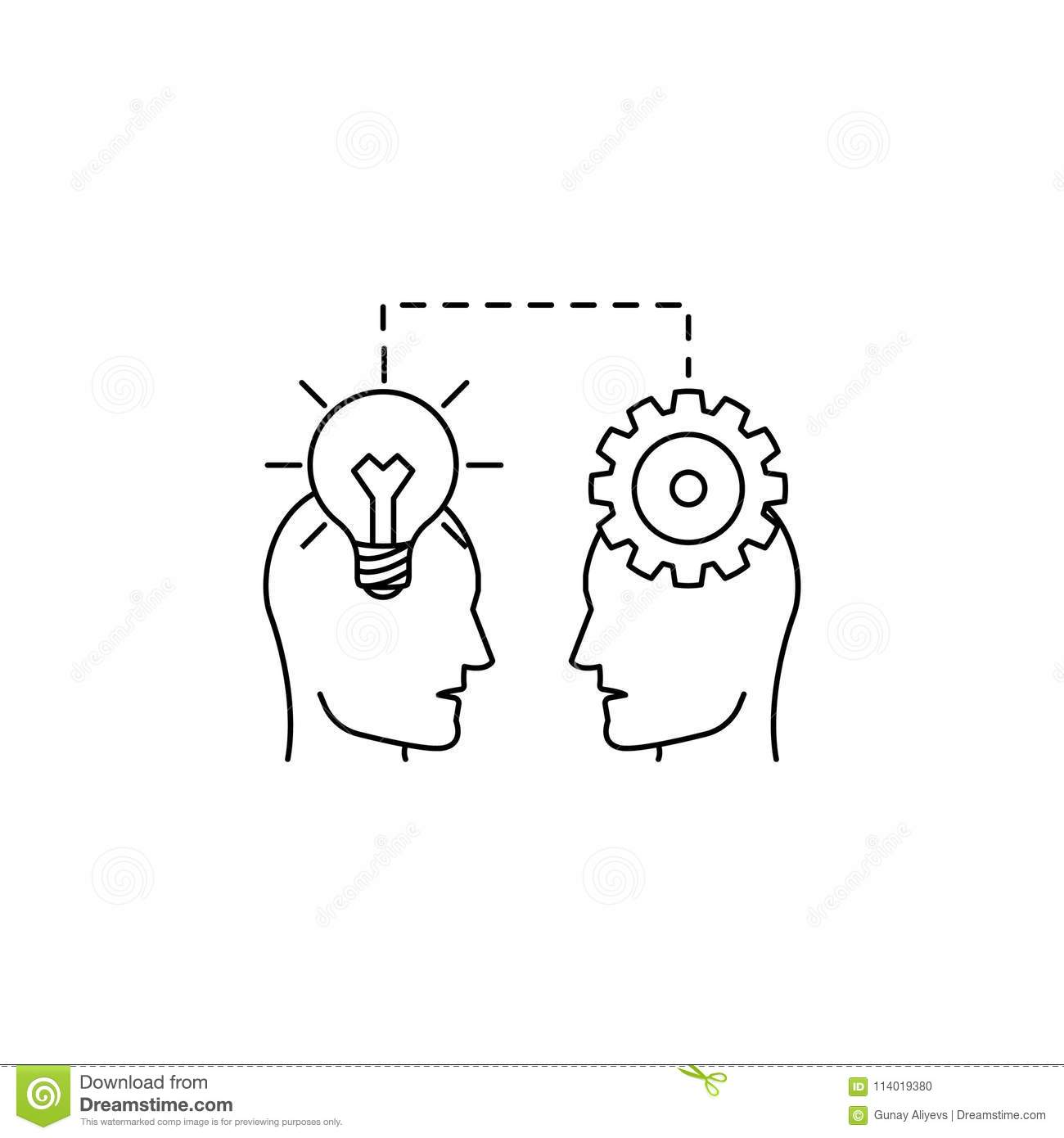 People In The Head Light Bulb And Gear Icon Element Of