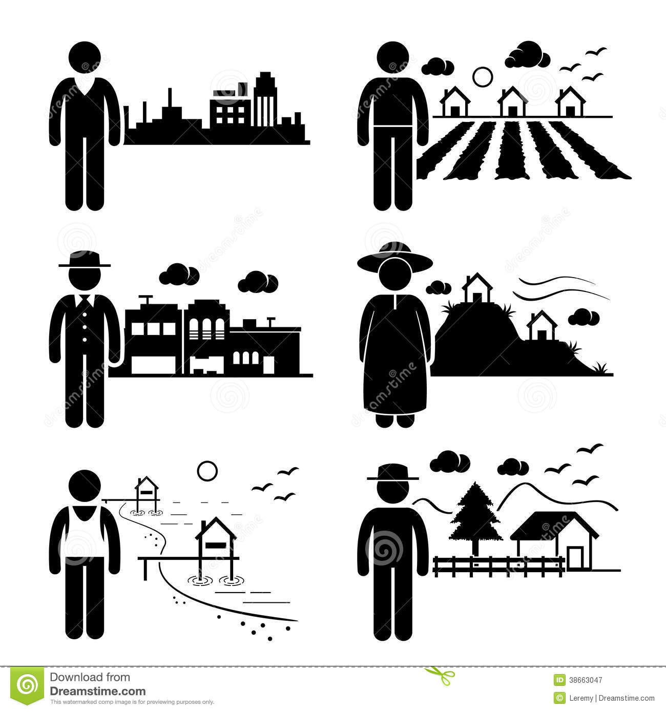 People Living In Different Places Stock Vector
