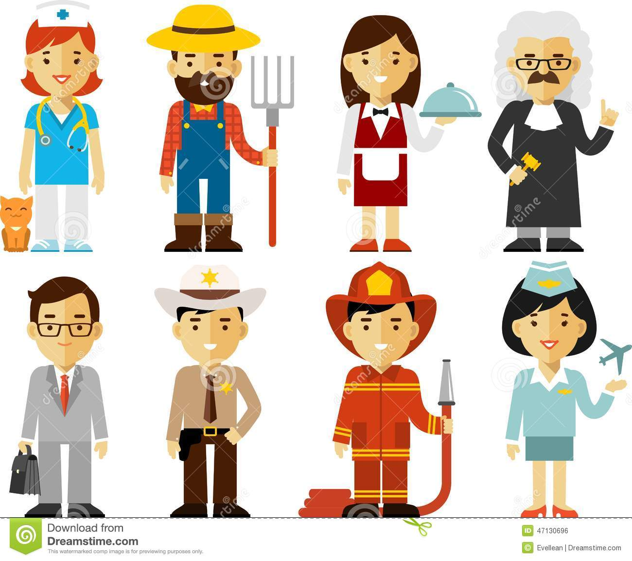 People Occupation Characters Set In Flat Style Stock
