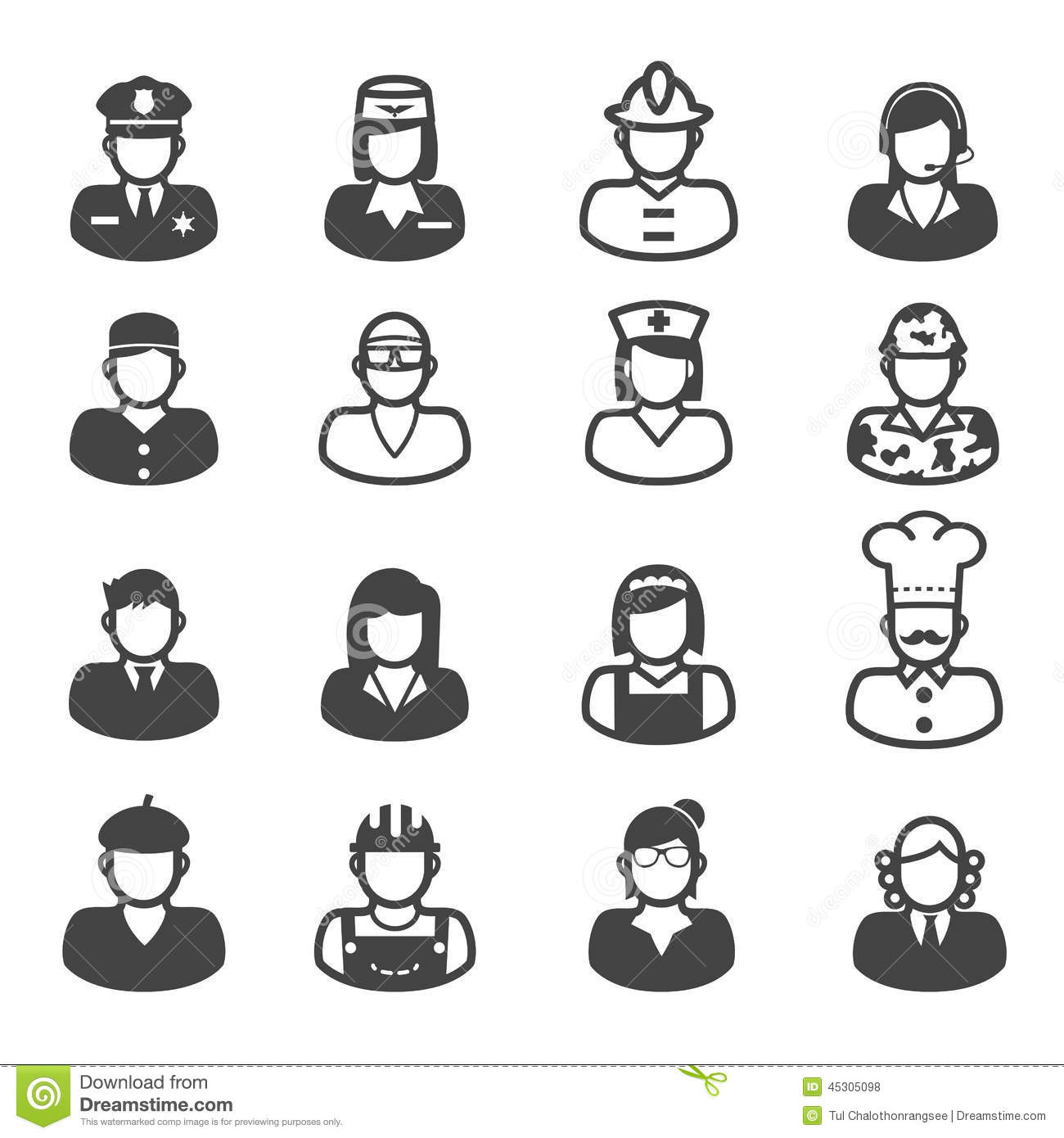 People Occupation Icons Stock Vector Illustration Of Face