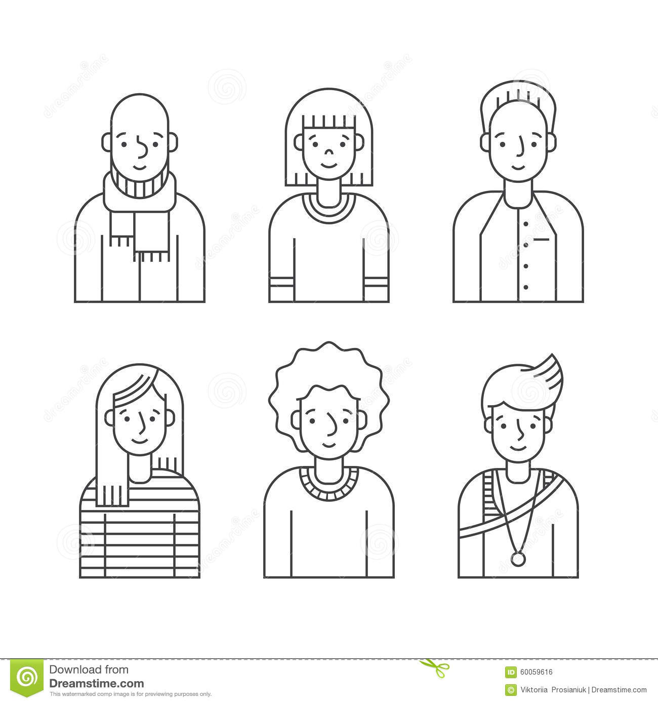 People Outline Gray Icons Vector Set Men And Women