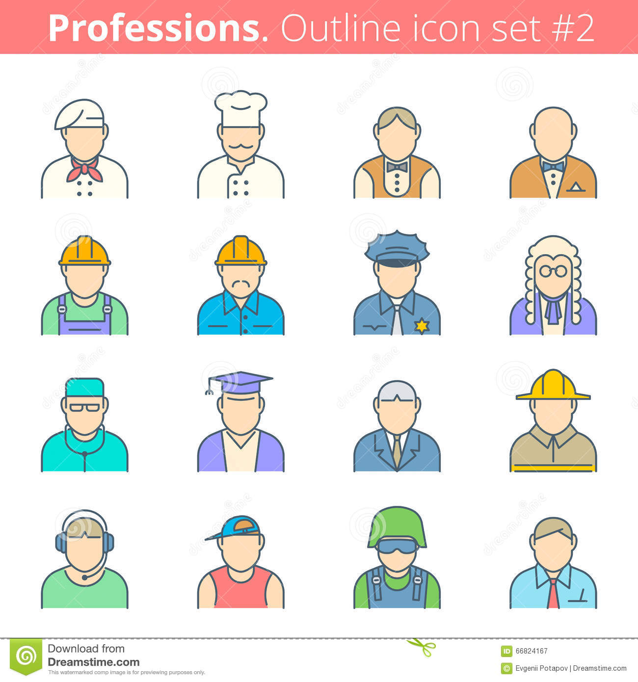 People Professions And Occupations Color Outline Icon Set