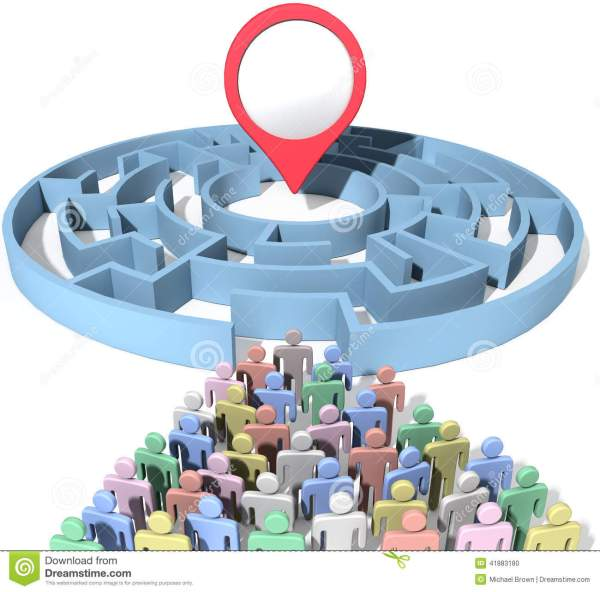 People Search Maze Place Location Marker Stock ...
