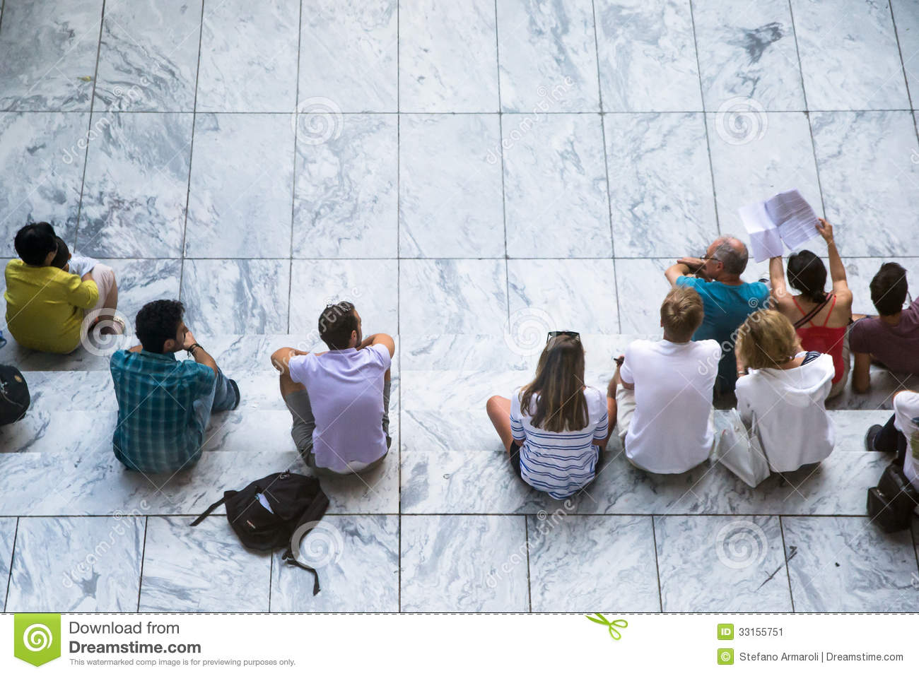 People Sitting On White Steps Editorial Photo Image