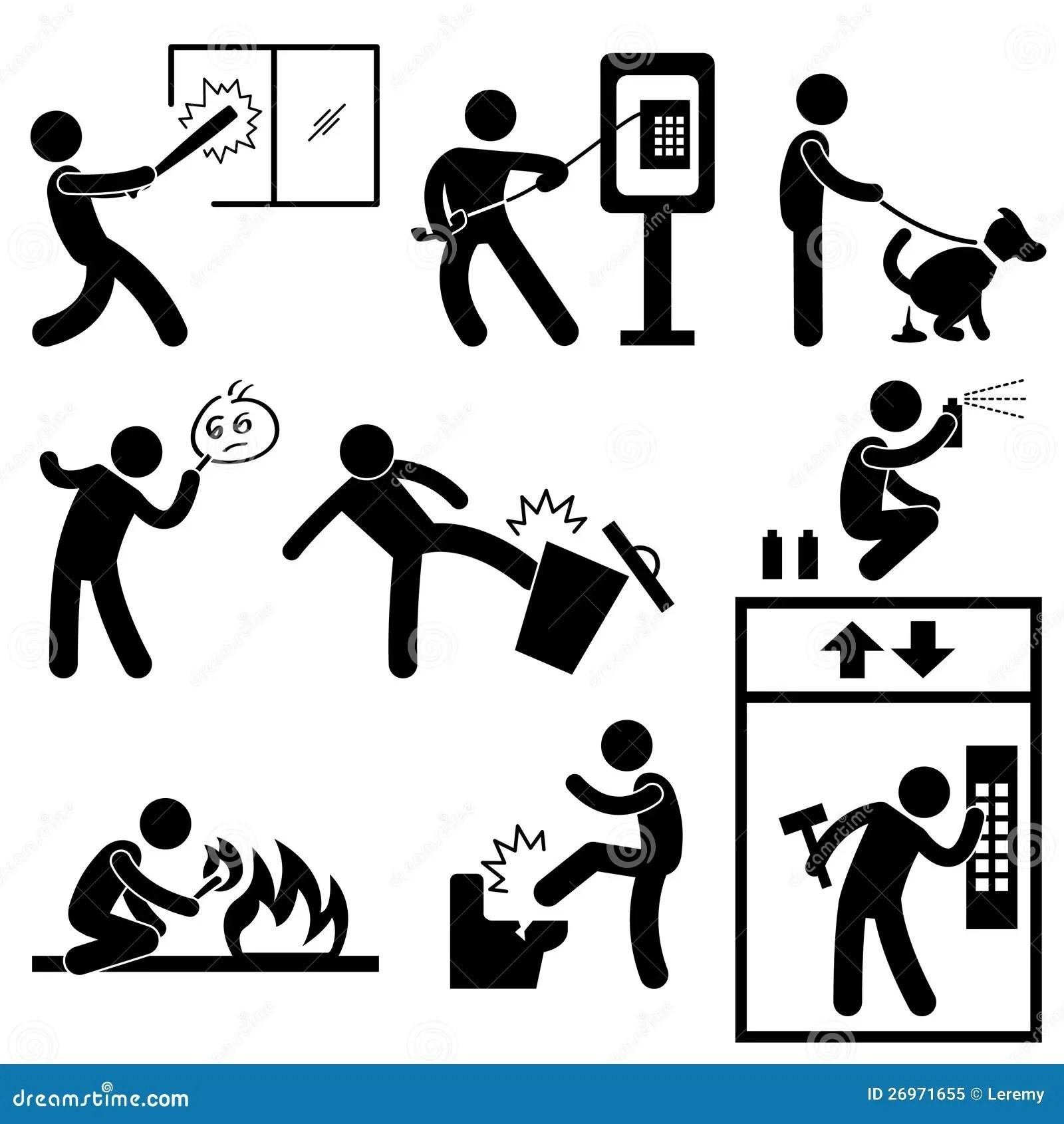 People Vandalism Violence Gangster Stock Vector