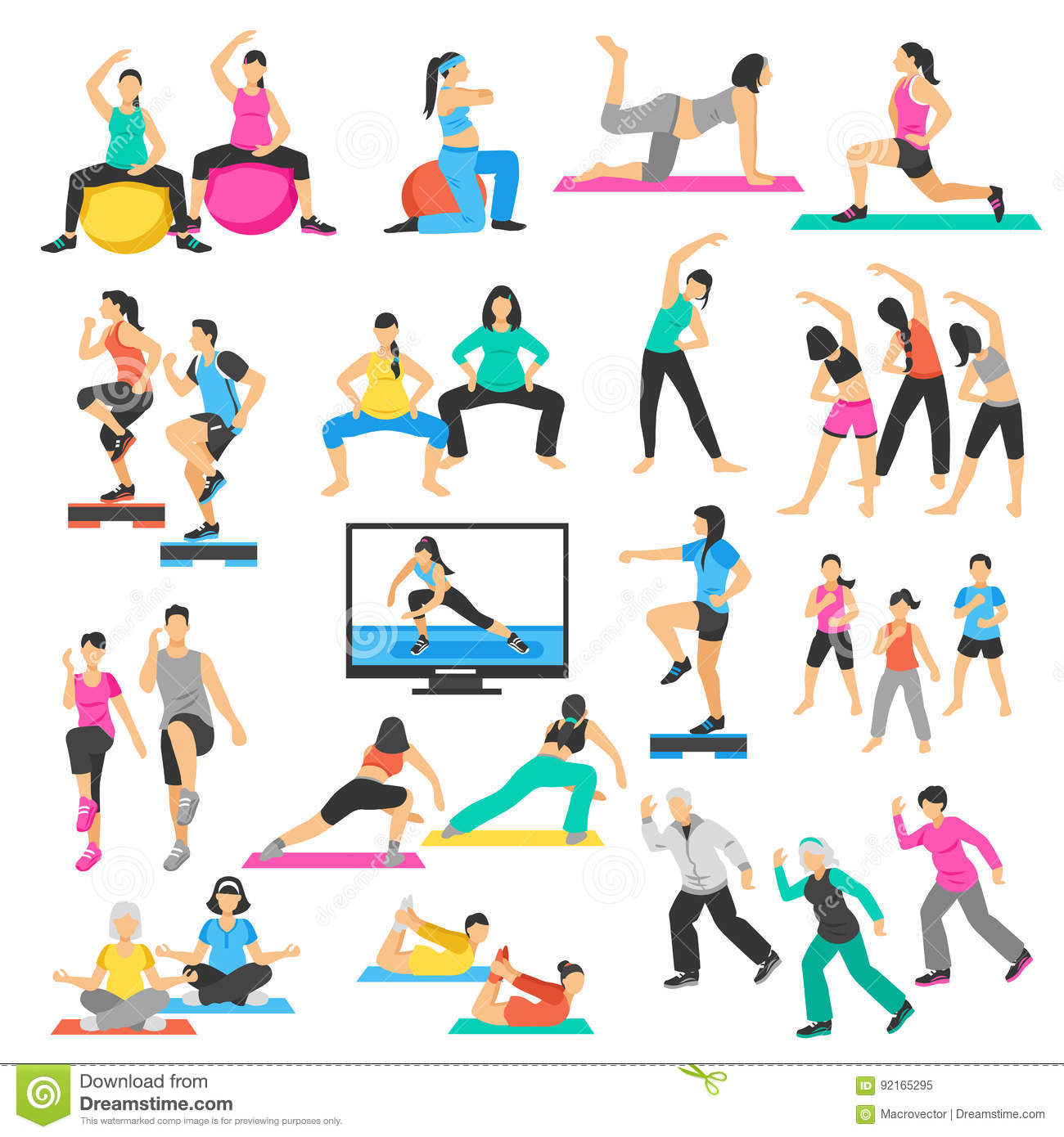 Physical Activity For Seniors Vector Illustration Vector Illustration