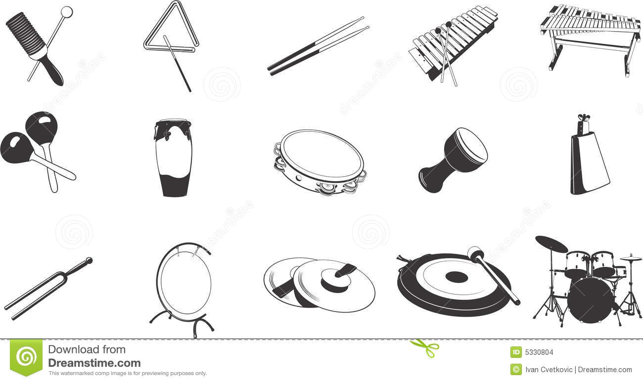 Percussion Instruments Icons Stock Vector
