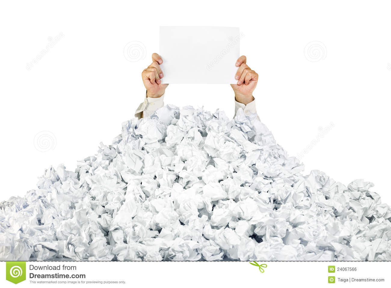 Person Under Crumpled Pile Of Papers With A Blank Royalty