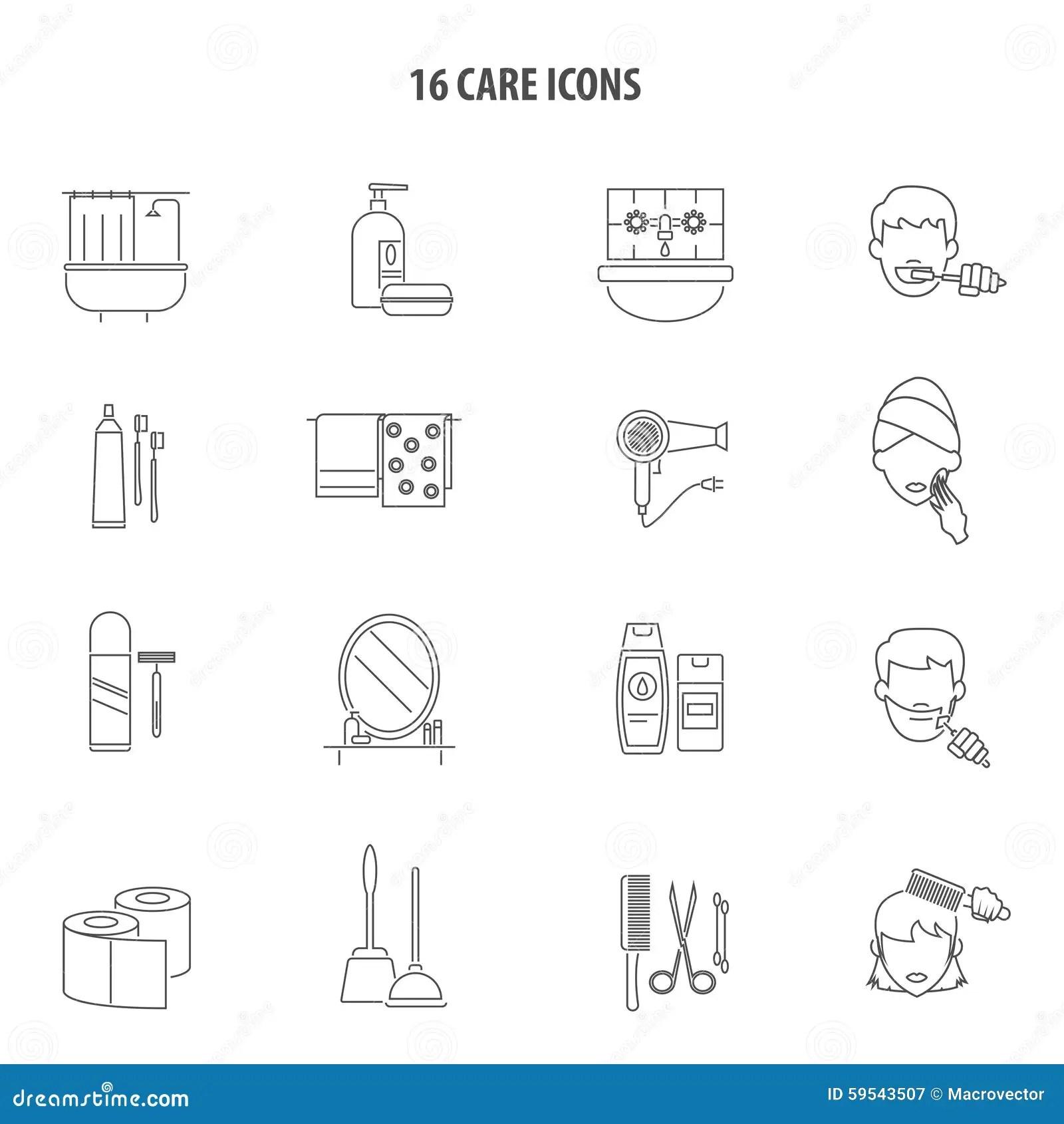 Set Line Icons Of Bathroom Cartoon Vector