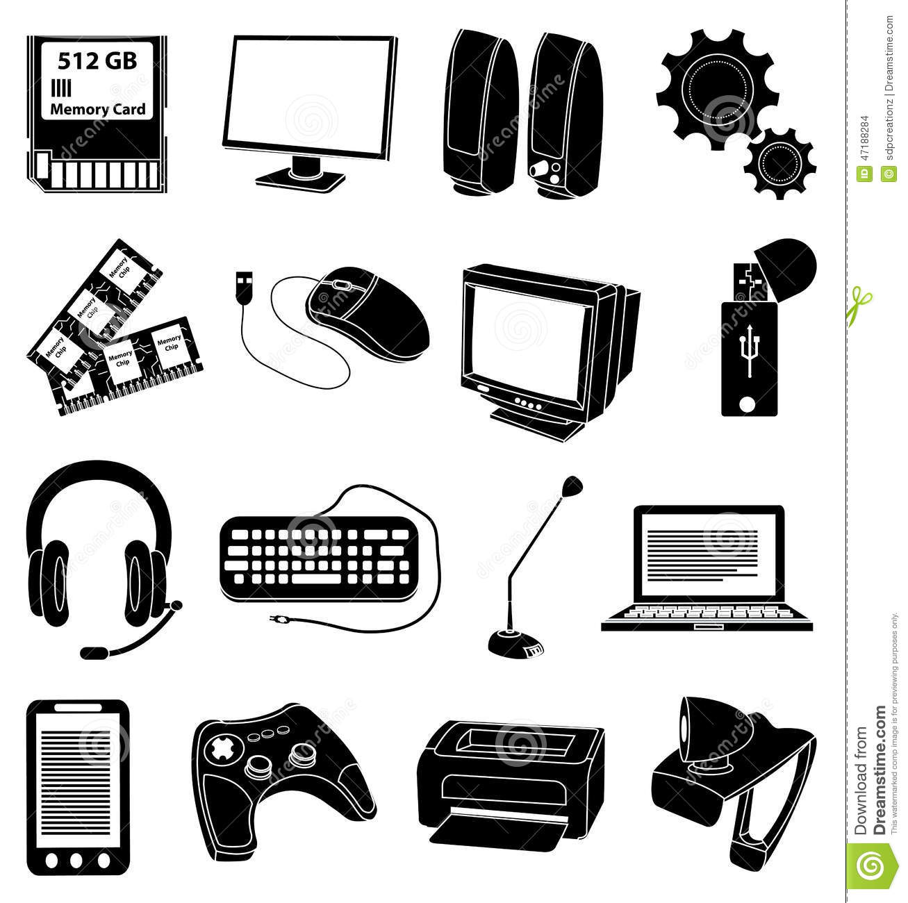 Personal Computer Parts Icons Set Stock Vector