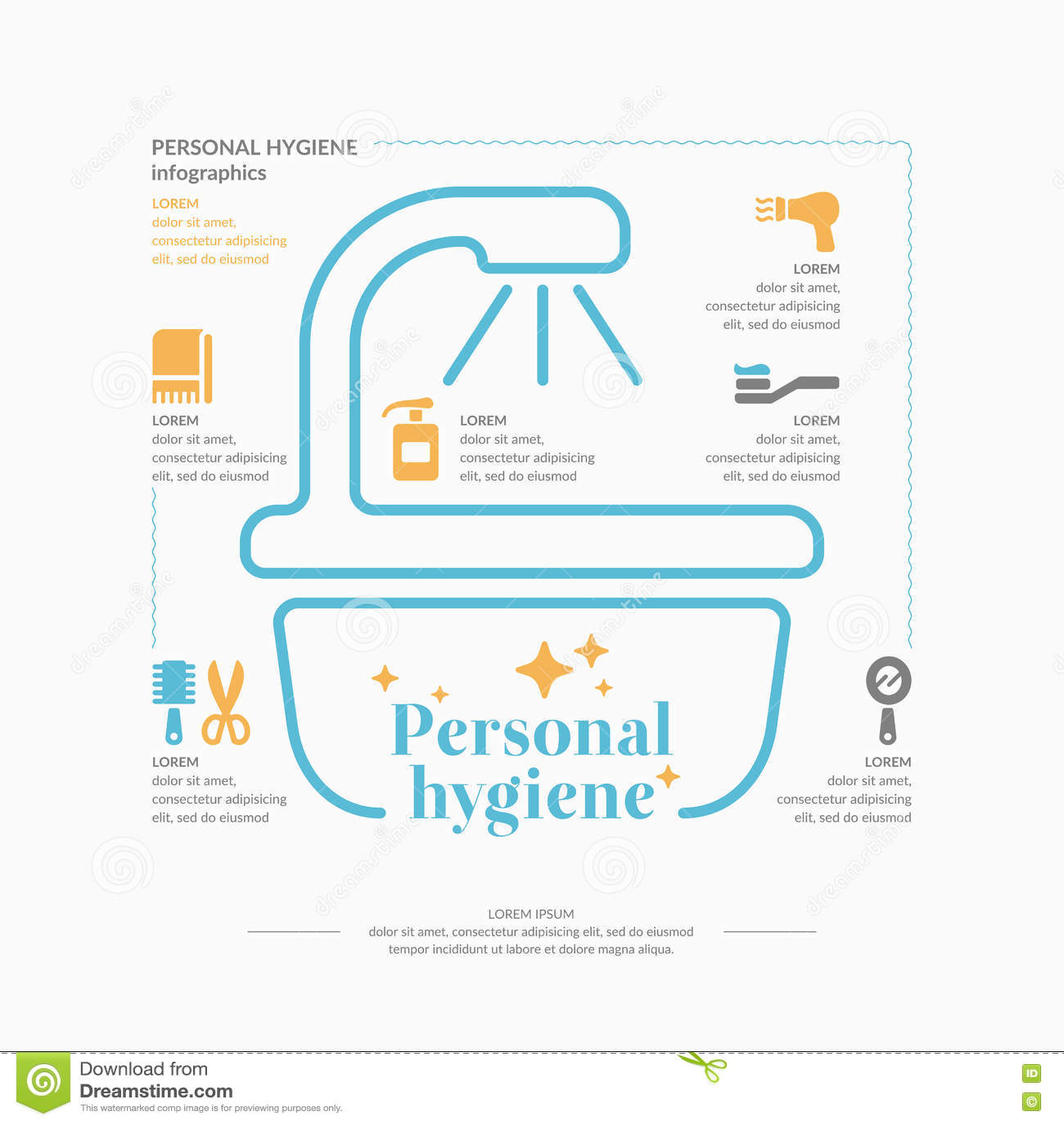 Personal Hygiene Infographics Cartoon Vector