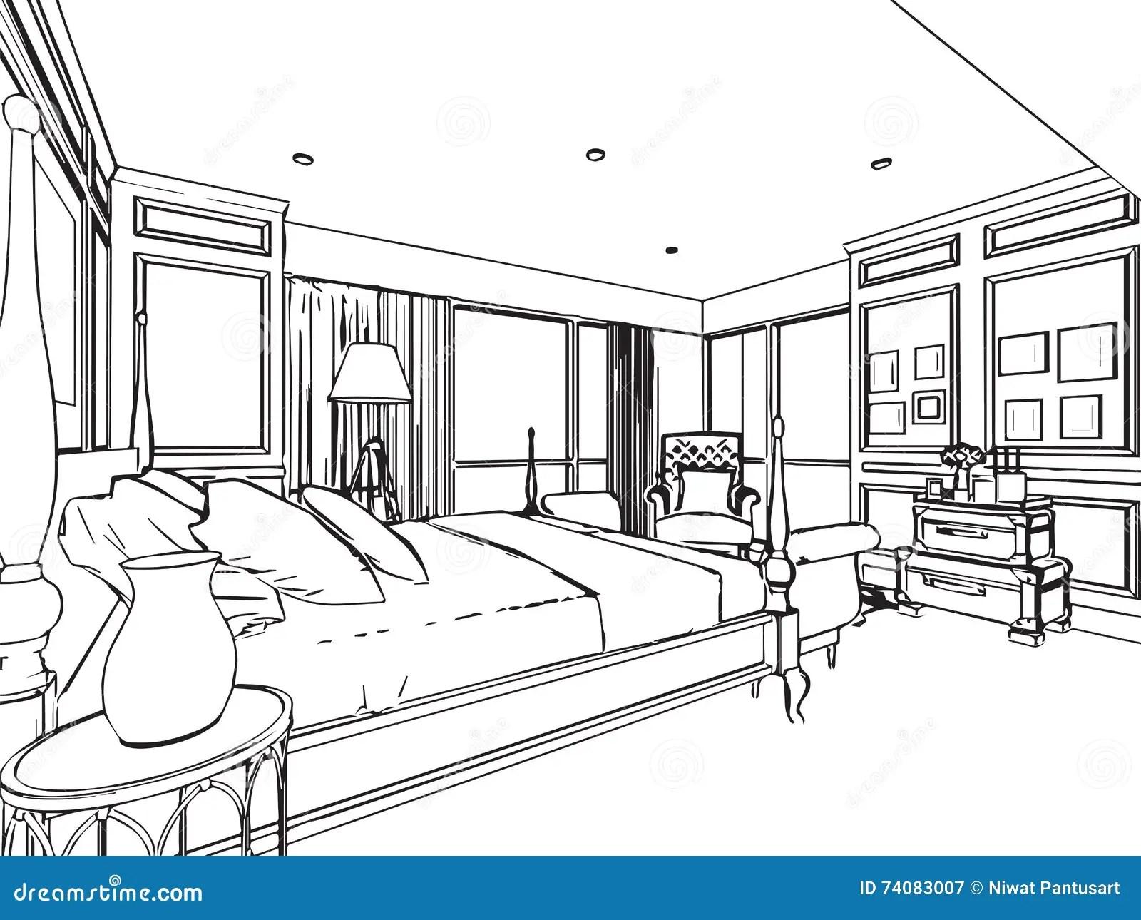 Perspectiva Interior Del Dibujo De Bosquejo Del Esquema De La Casa Ilustracion Del Vector