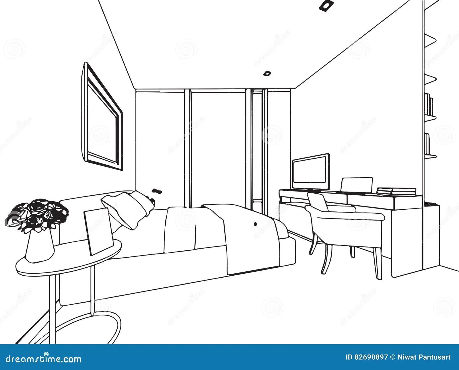 Perspectiva Interior Do Desenho De Esboco Do Esboco Da Casa Ilustracao Do Vetor