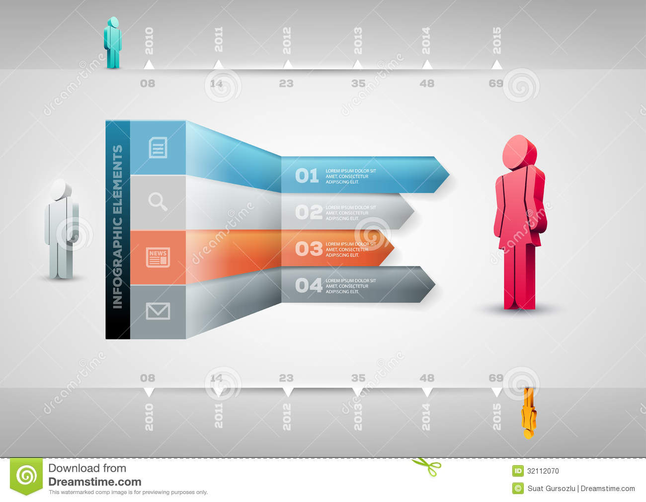 Perspective Arrow Infographic Template Stock Photo Image