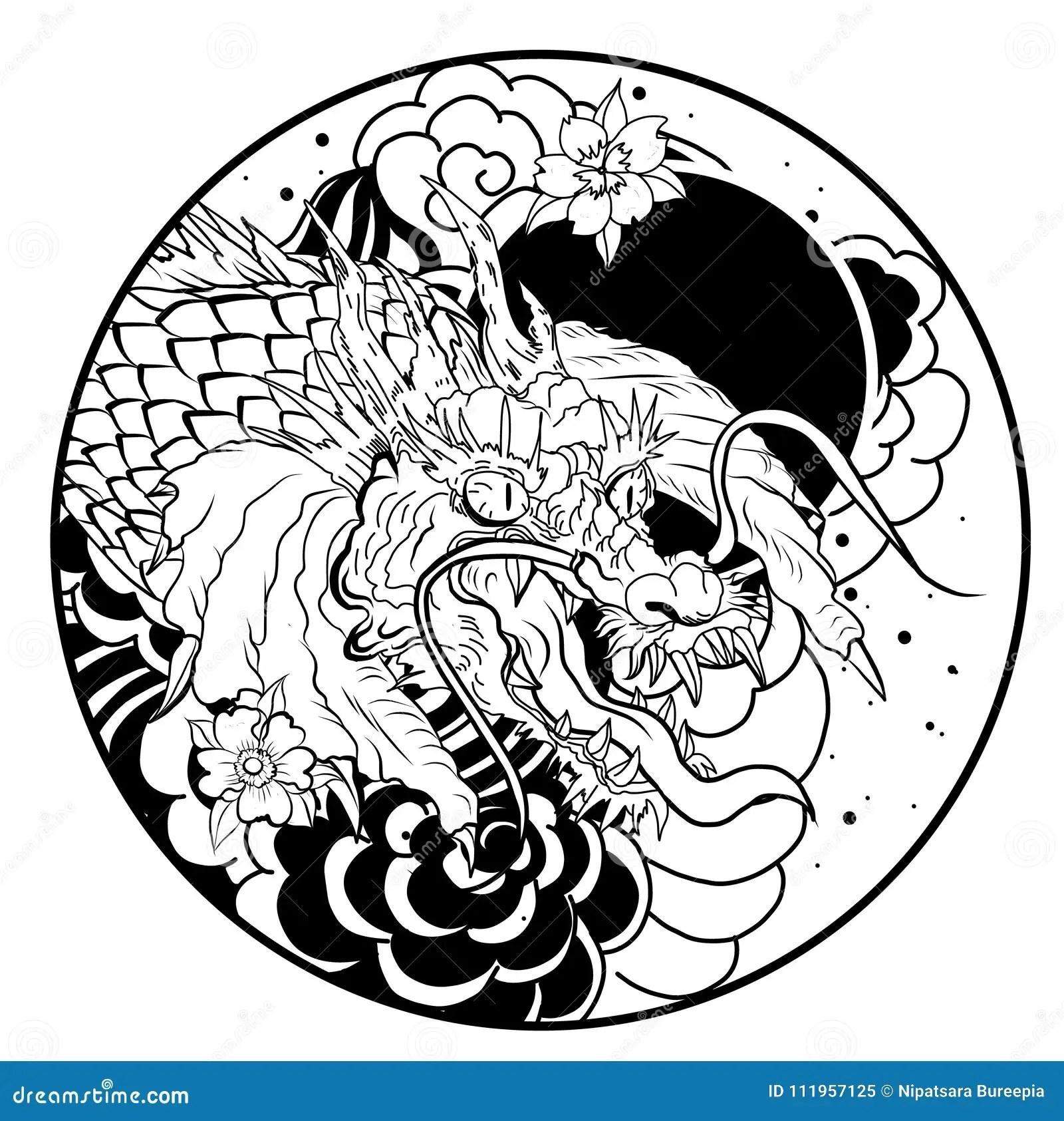 Pesce Disegnato A Mano Di Koi Nel Cerchio Giapponese