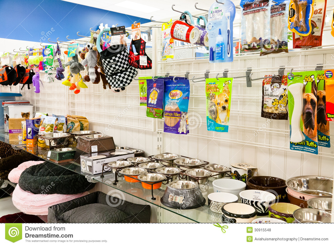 Pet Store Shelf With Pet Supplies Editorial Stock Photo
