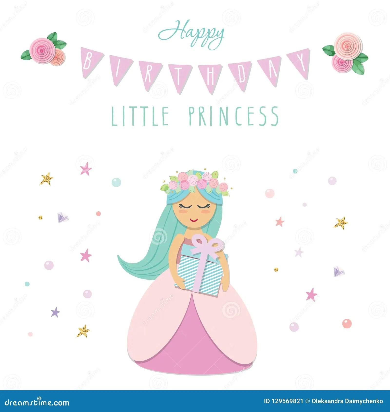 https fr dreamstime com petit calibre mignon carte d anniversaire princesse illustration vecteur image129569821