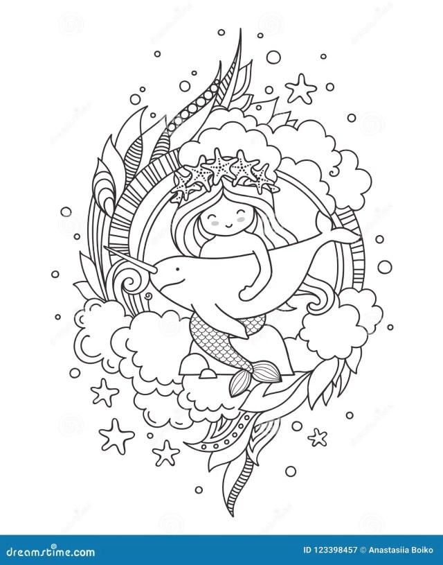 Petite Sirène, Se Reposant Sur Une Roche, étreignant Le Narval