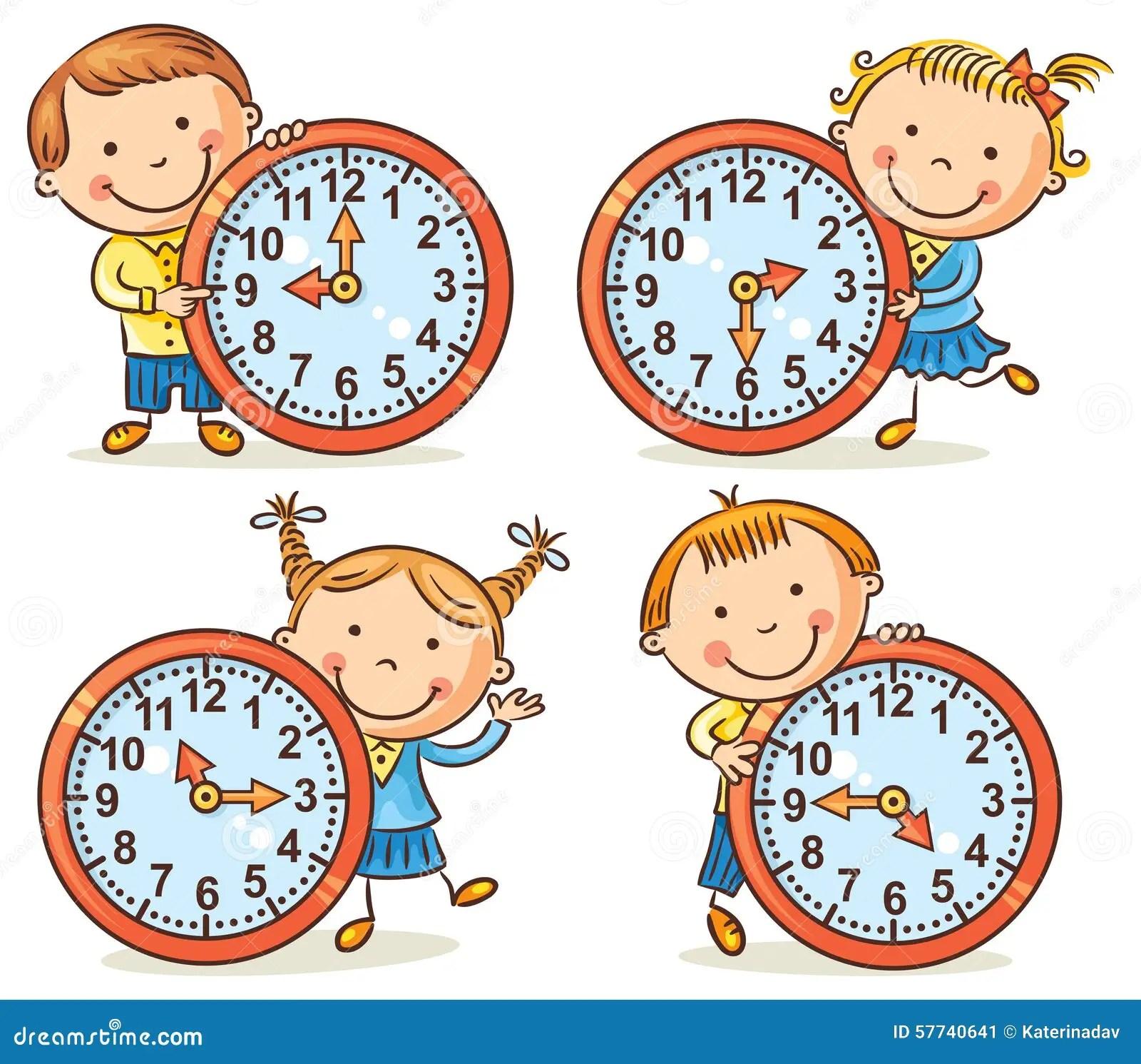 Petits Enfants Disant L Ensemble De Temps Illustration De