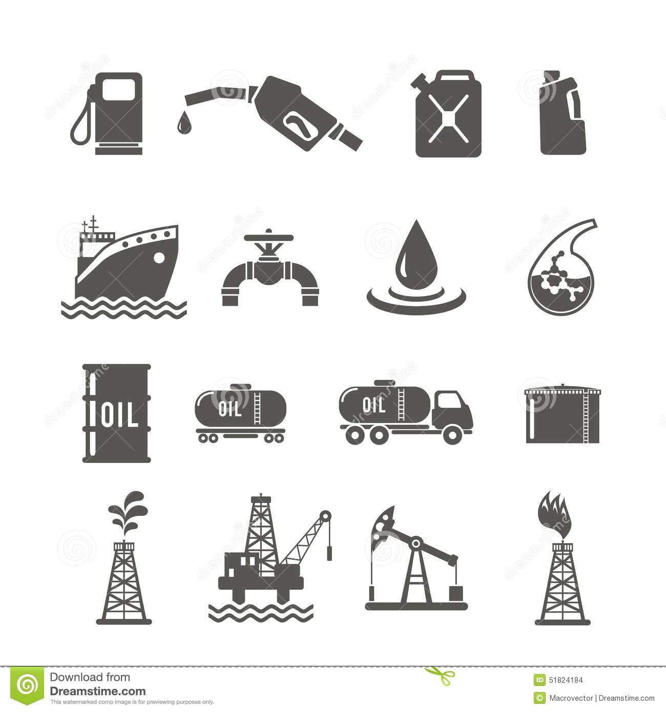 Petroleum Industry Icon Set Stock Vector