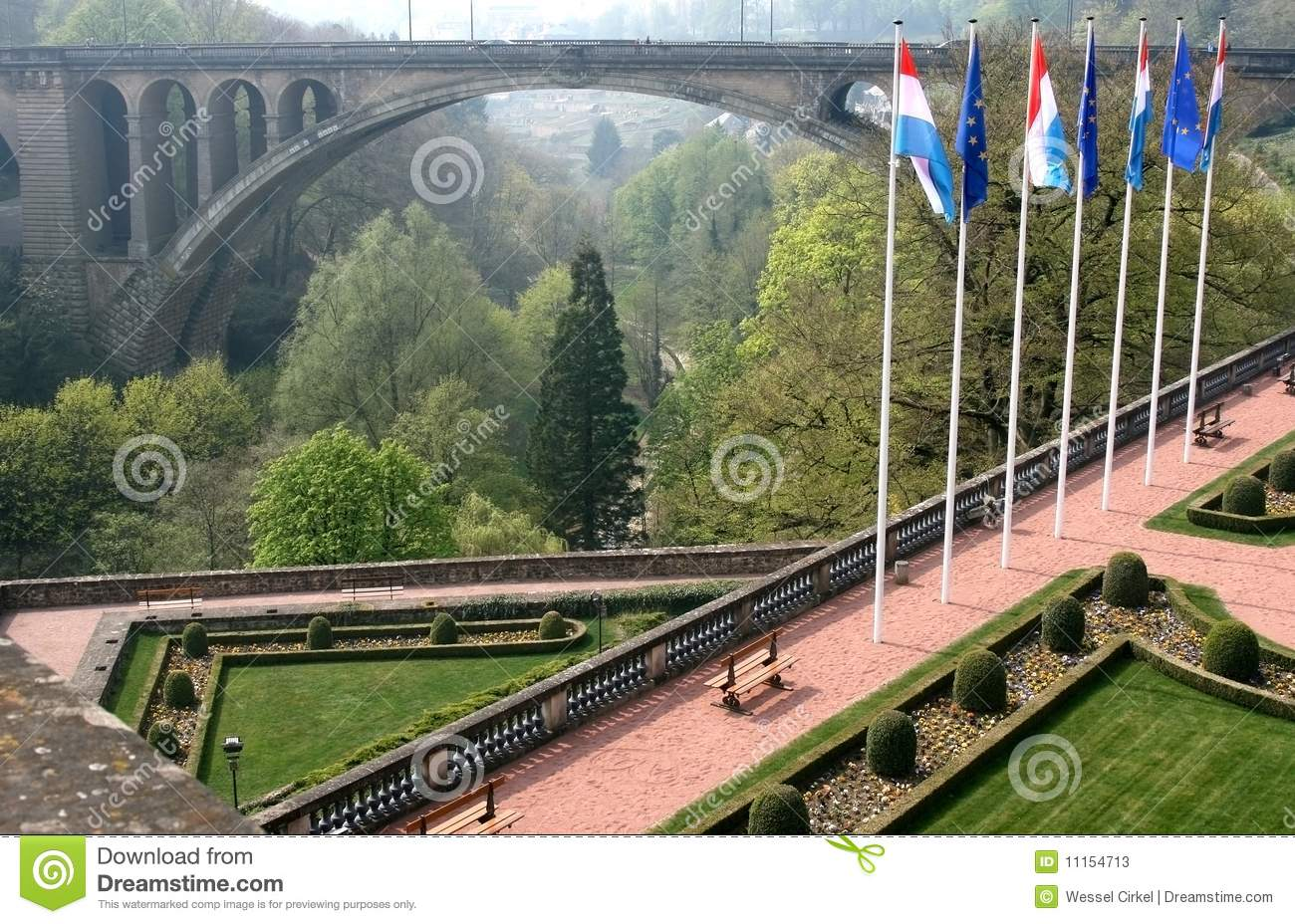 Petrusse Park And Adolphe Bridge Luxembourg Stock Image
