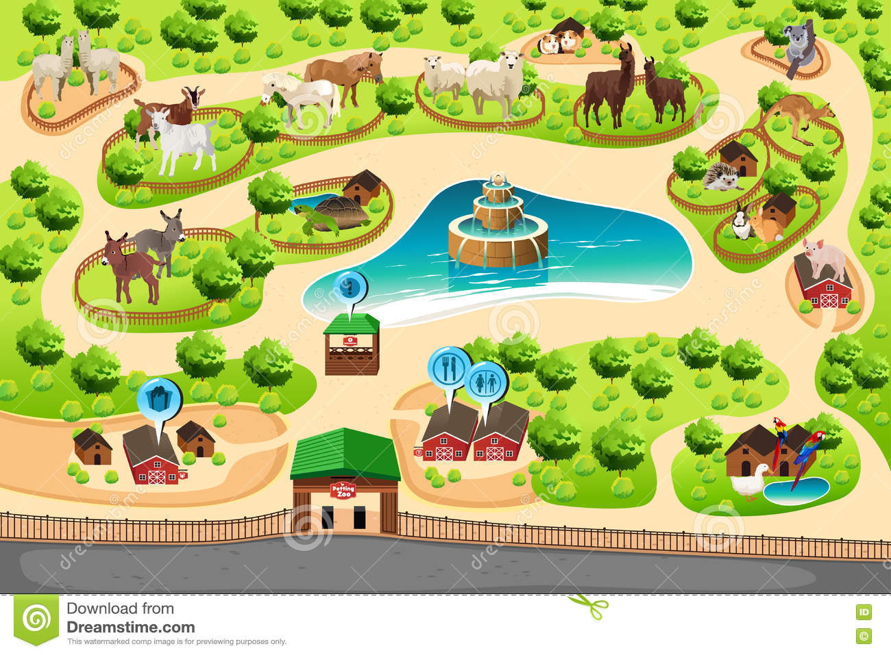 Petting Zoo Map Stock Vector Illustration Of Outdoor