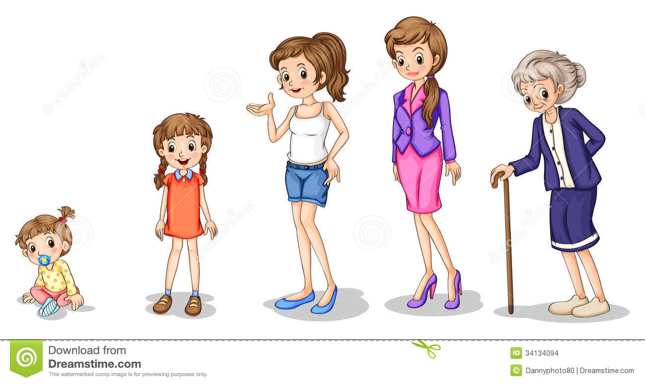 Phases Of A Growing Female Stock Vector Illustration Of