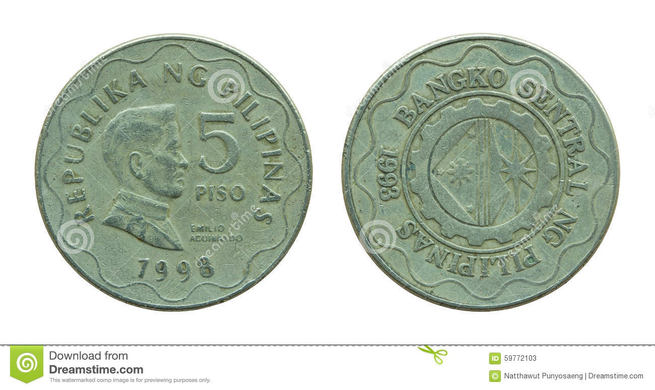 Philippine Five Peso Coins Isolated On White Stock Image