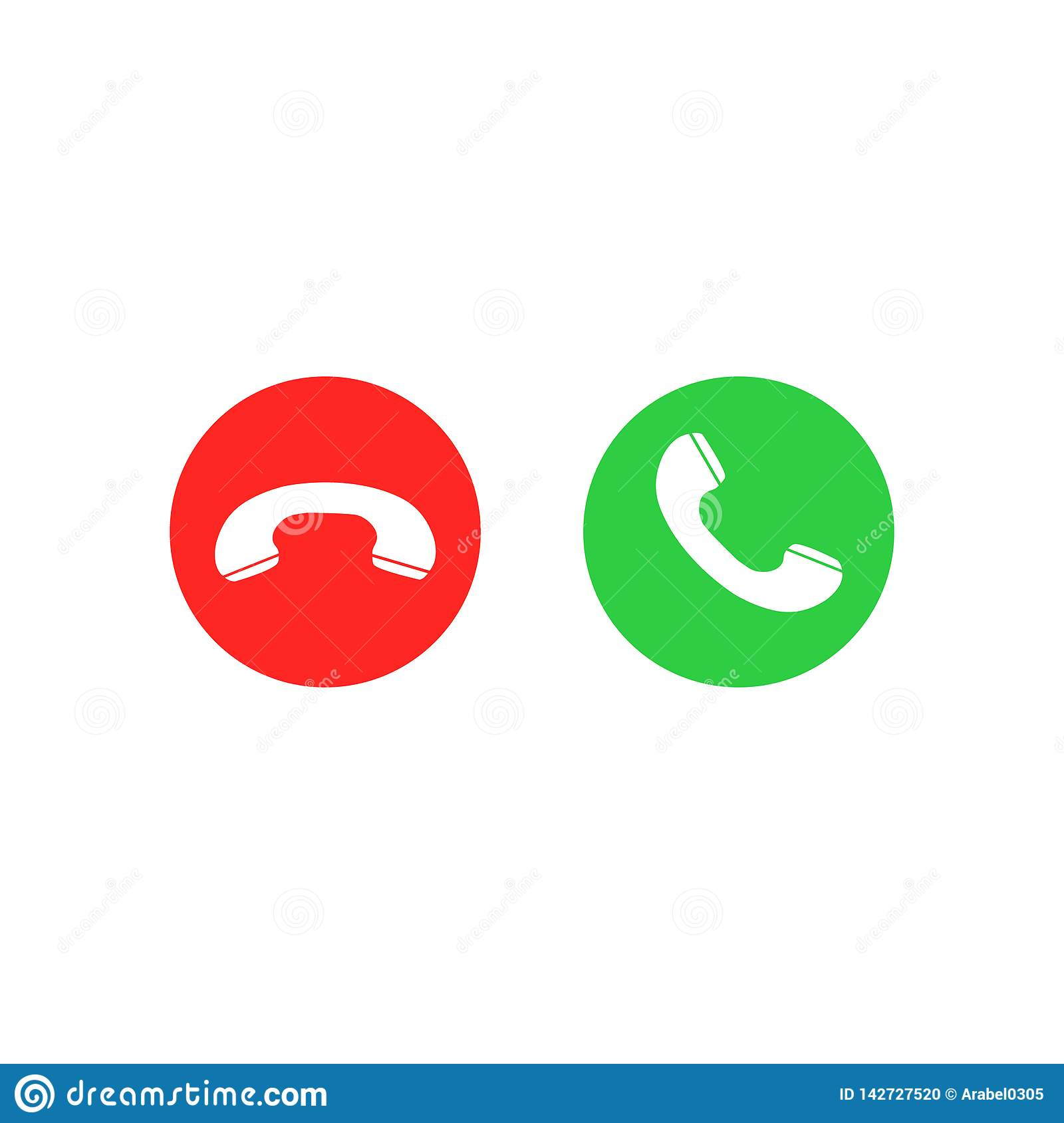 Phone Call Icons Accept Call And Decline Button Green