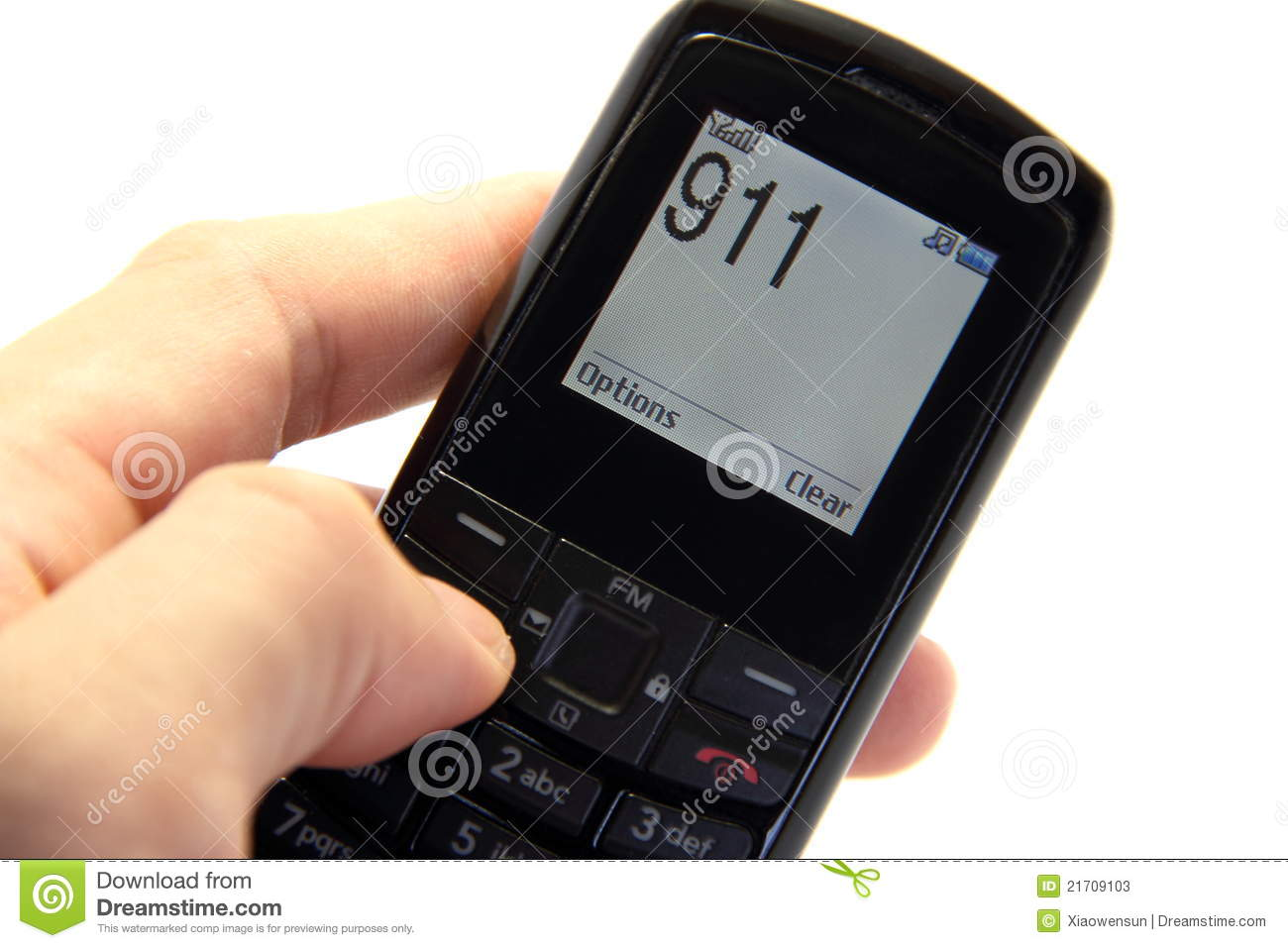 Phone In Hand And Will Call 911 Stock Photos