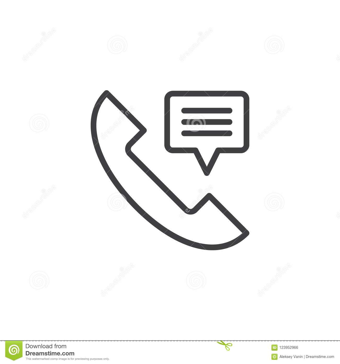 Phone Receiver Contact Us Outline Icon Stock Vector