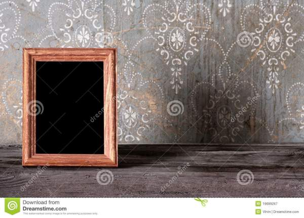 Photo-frame on old table stock image. Image of grunge ...