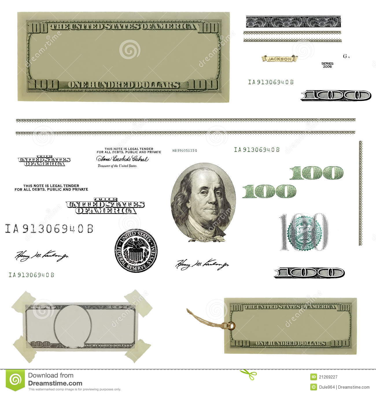 Photo Hundred Dollar Bill Elements Isolated Stock