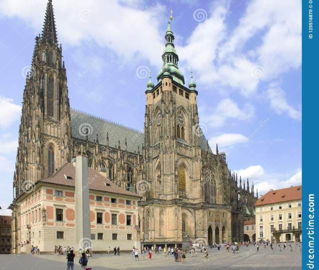 Gothic Architecture Of One Of Famous Historic Landmarks In Europe Praha Check Republic In Summer Sunny Day And Beautiful Cloudy Sky