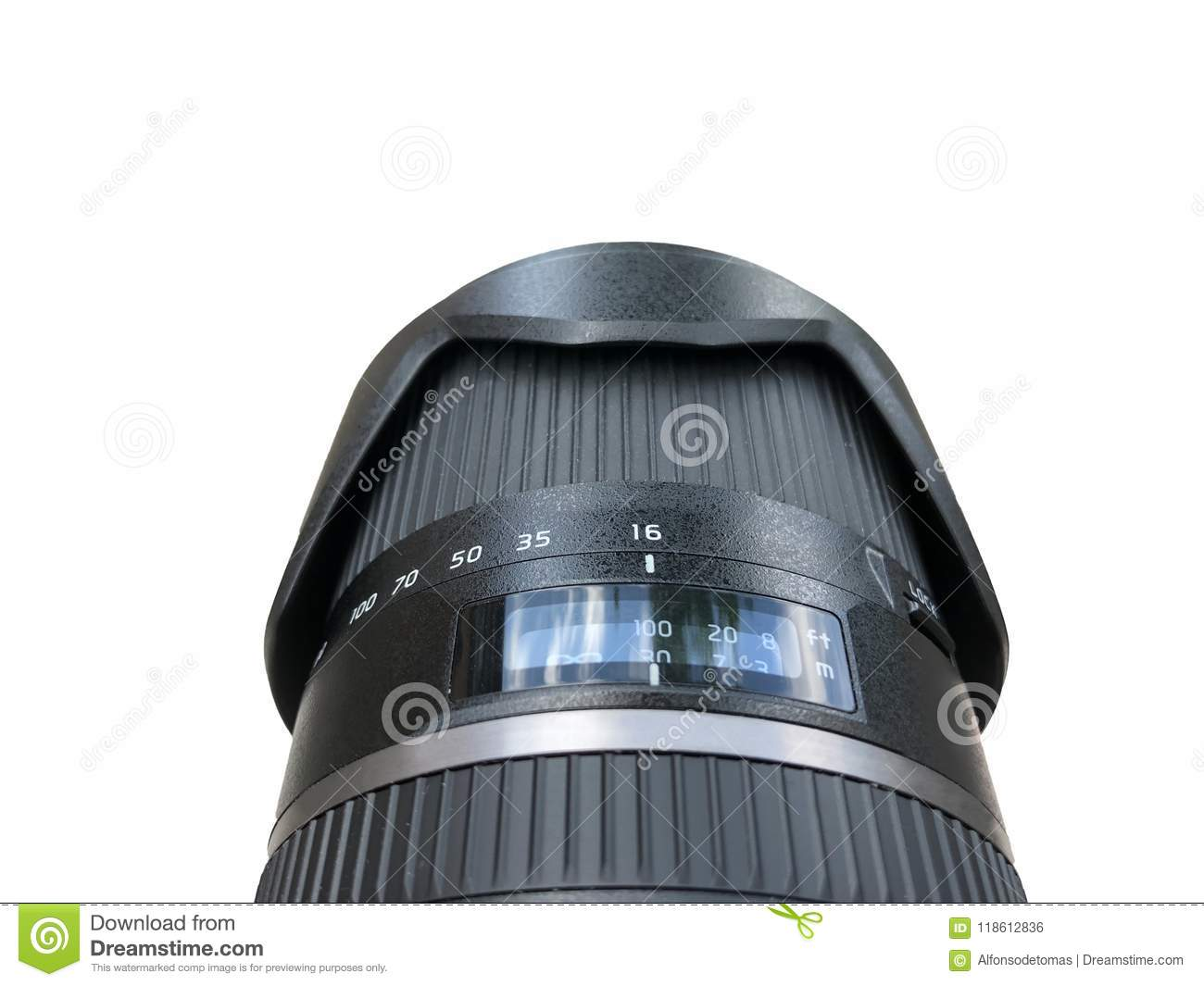 Camera Lens With Photographer Point Of View Isolated Over