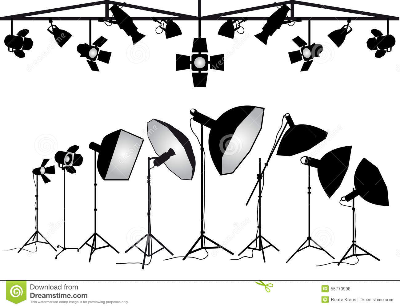 Photography Lighting Equipment Vector Set Stock Vector