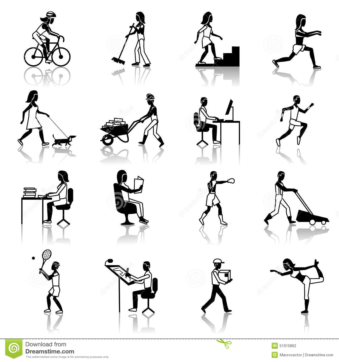 Physical Activities Icons Black Stock Vector