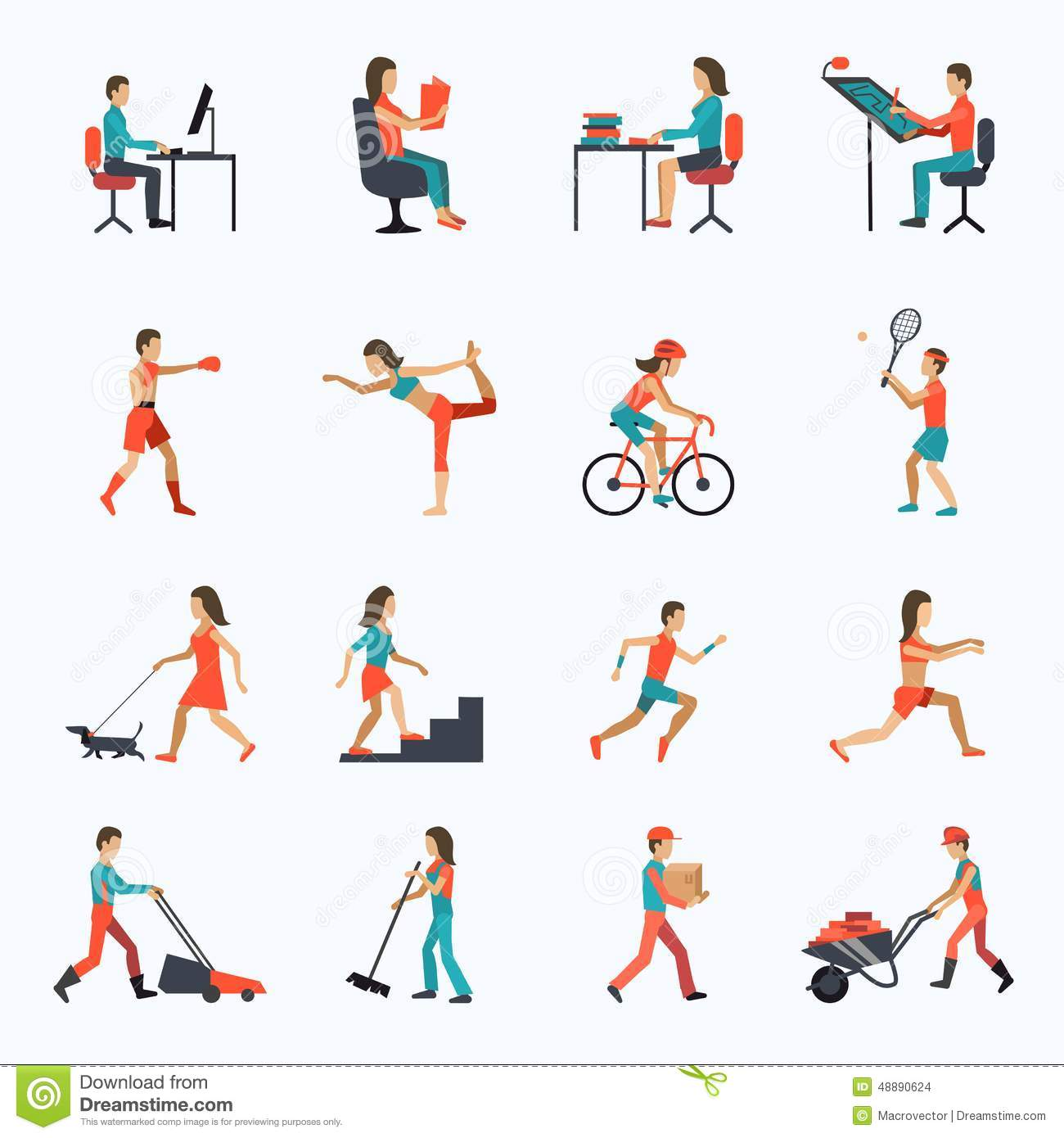 Physical Activity Icons Stock Vector Illustration Of