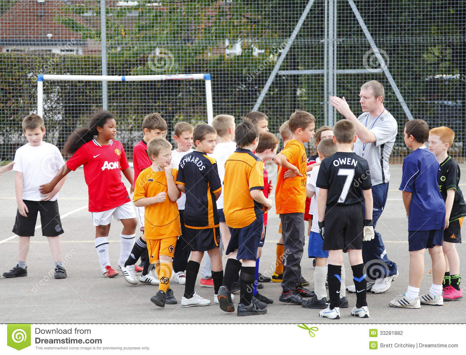 Gym Class Teacher And Children Editorial Photography