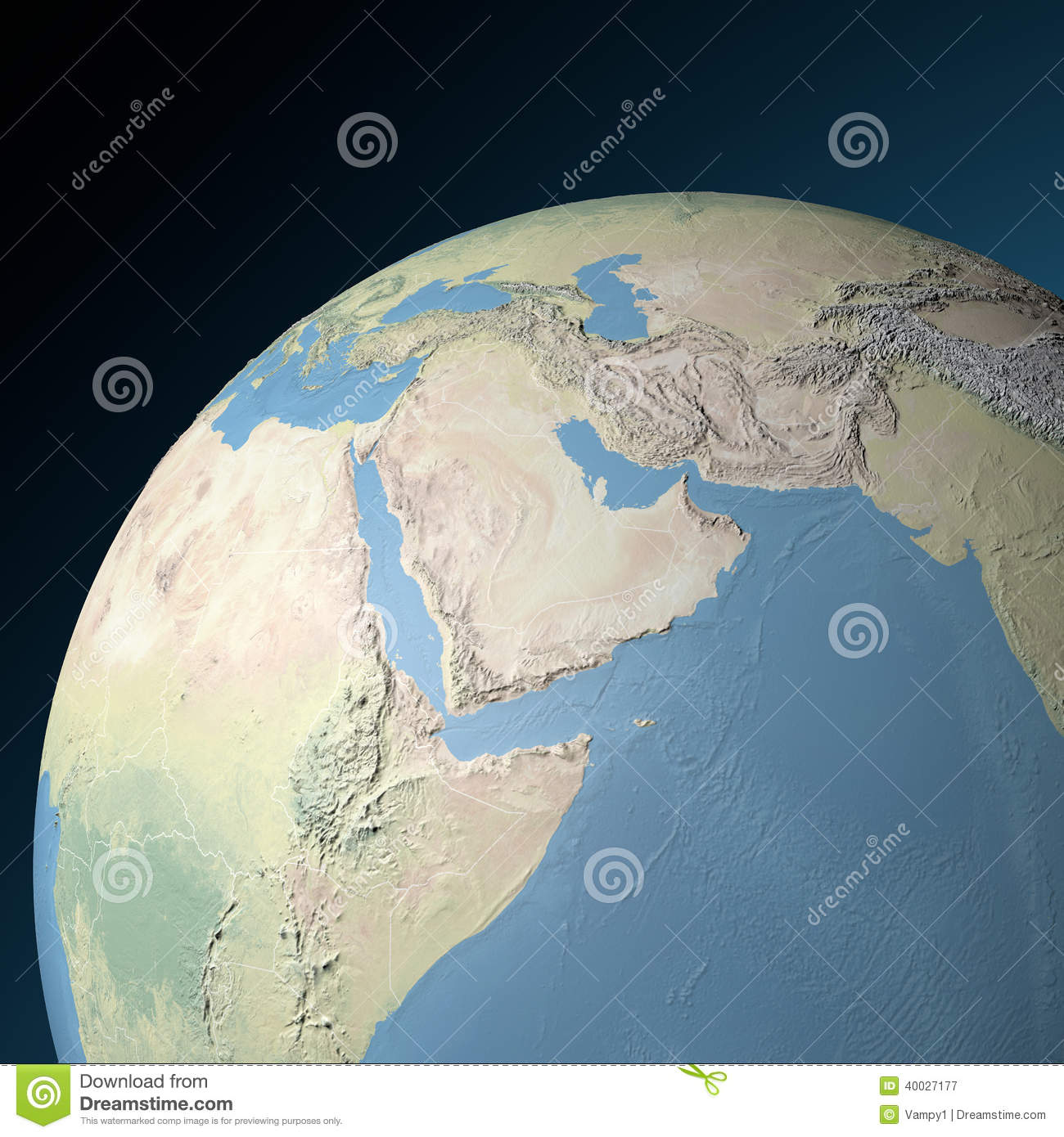 Physical Map Of Middle East Stock Illustration
