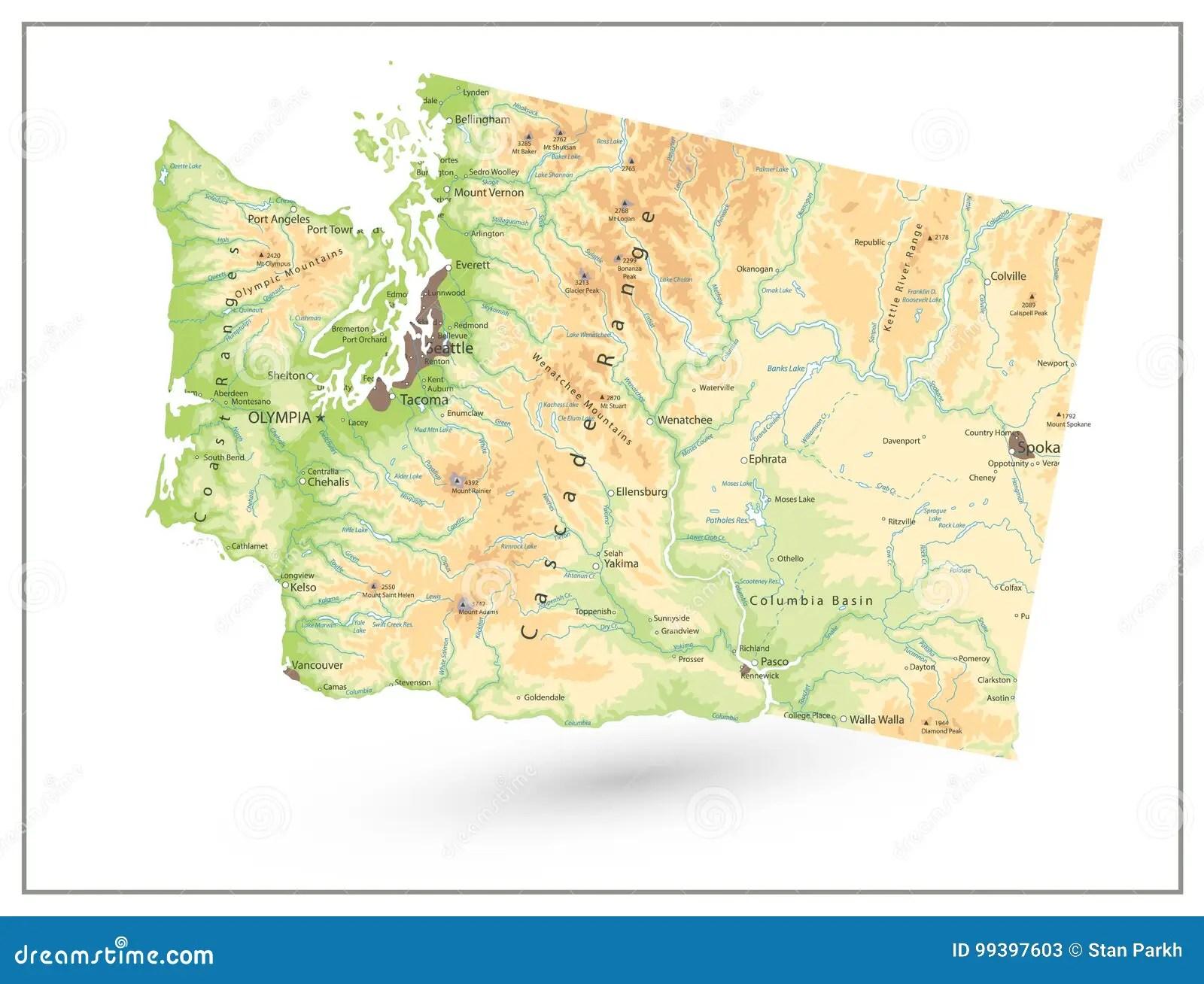 Physical Map Of Washington State Isolated On White Stock