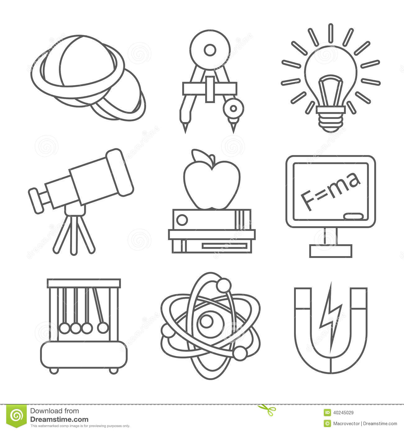Physics Science Icons Stock Vector