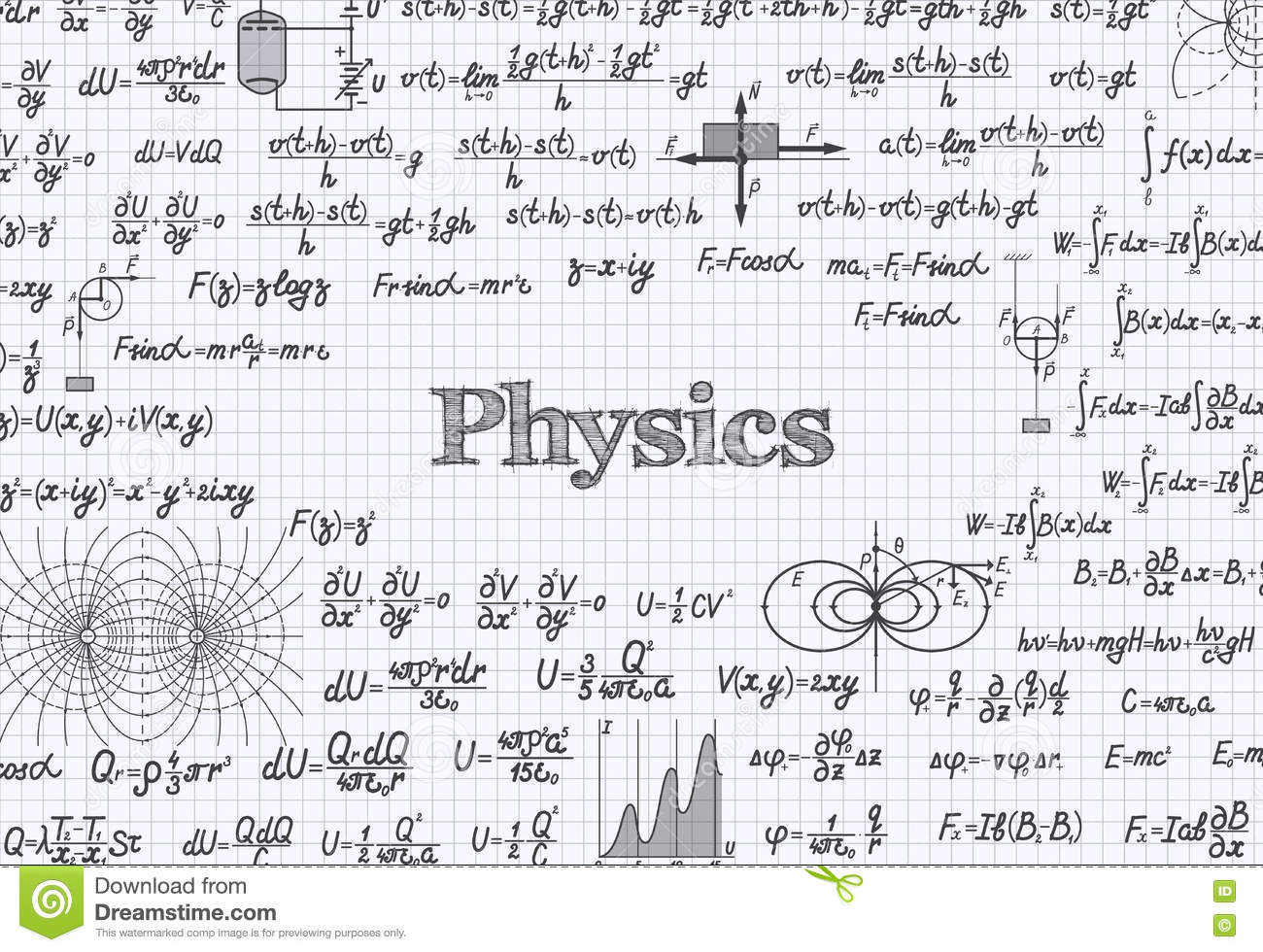 Physics Vector Pattern Background In Exercise Book Stock