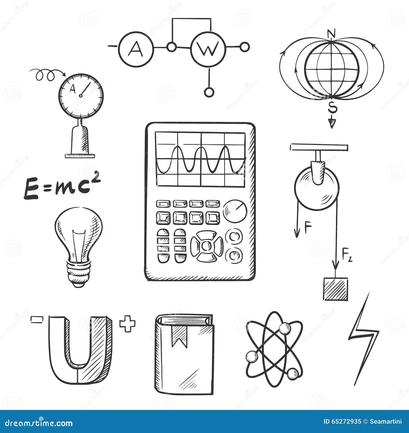 Physique Et Icones De Croquis De Mecanique Illustration De
